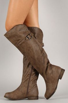Buckle Round Toe Riding Knee High Boots