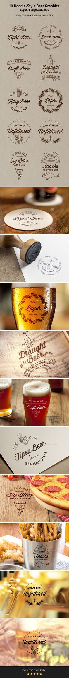 10 Doodle-Style Beer Badges, Logos, Stamps