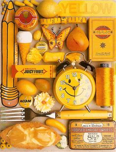 Photo of a collection yellow objects by Italian photographer Guido Cecere ( a good photography project for Louis? Mellow Yellow, Mustard Yellow, Color Yellow, Yellow Style, Yellow Theme, Lemon Yellow, Juicy Fruit Gum, Fruit Gums, Collections Of Objects
