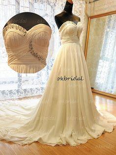 long wedding dress chiffon by okbridal