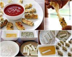 Käsesticks   Cheddar (oder irgendeinen anderen Käse) in Streifen schneiden & in Mehl wälzen. Dann in ein geschlagenes Ei tauchen & in Paniermehl wenden (nach Bedarf mit Gewürzen, Kräutern, Sesam verfeinern). In einer Pfanne mit genügend Öl braten. Am besten passt dazu ein Chilli- oder ein Jogurtdip.