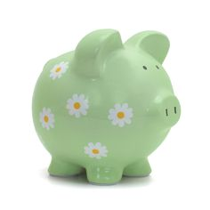 Turn a traditional design into a treasure with the Personalized Daisy Piggy Bank! Its charming pattern makes managing a child's savings fun and easy. Perfect for a nursery, baby shower, birthday and every occasion in between. Personalized Piggy Bank, Personalised Gifts Unique, Unique Baby Gifts, Large Piggy Bank, Pig Bank, Cute Piggies, Diy Craft Projects, Kids Crafts, Hand Painted Ceramics