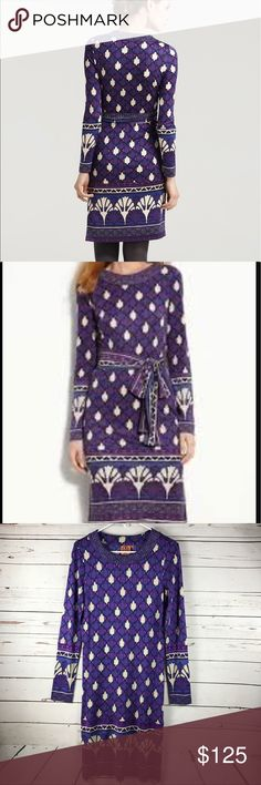 """Tory Burch AUDRA purple silk dress M no belt Tory Burch Audra purple silk dress. Size medium.  100% silk Dress comes from smoke free home 💥The dress is missing belt💥 Measurements : Chest 16"""" across or 32"""" around Waist 15.5"""" across or 31"""" around Hips 18.8"""" or 37"""" Sleeve 24.2"""" Tory Burch Dresses Midi"""