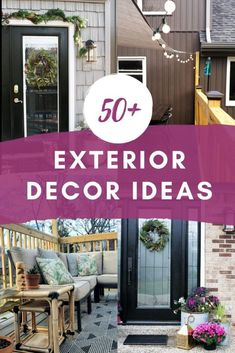 Update the curb appeal of your home with projects ranging from simple crafts to exterior renovations. Embrace the sunshine by investing in exterior decor for your deck, patio, porch, and gardens. Diy House Projects, Cool Diy Projects, Project Ideas, Vertical Vinyl Siding, Shade Sail Installation, Board And Batten Exterior, Green Front Doors, Tiki Decor, Outdoor Furniture Covers