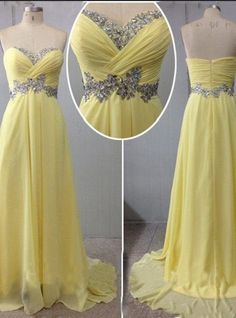 Long Prom Dresses,Beautiful A-Line Sweetheart Sweep Train Yellow Prom/Evening Dress With Beading, Prom Dress