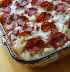 3 Meat Pizza Casserole - Pizza was on the menu until I came across this 3 Meat Pizza Casserole Recipe. I didn't feel like dealing with a crust, and this looked really good. And it made a hit!