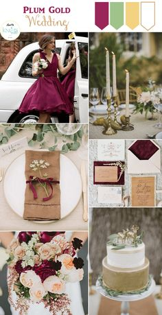 Fall Wedding Inspiration : Gold, White, Plum, Green - KnotsVilla