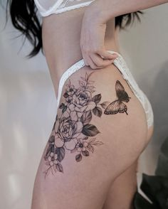 Amazing And Attractive Floral Tattoo Designs You Must Love; Tattoo 35 Amazing And Attractive Floral Tattoo Designs You Must Love - Page 7 of 35 - Chic Hostess Flower Hip Tattoos, Floral Thigh Tattoos, Rose Tattoos, Sexy Tattoos, Body Art Tattoos, Mini Tattoos, Tatoos, Tatto Floral, Floral Tattoo Design
