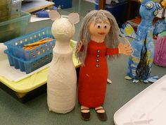 Fun art project with papier mâché from teachers at Graland Country Day School. Make your own figure using a tennis ball and coffee creamer bottle. Suitable for Grades 3 and up.