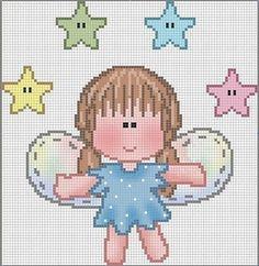 Angeles en punto de cruz para bebés - Imagui Cross Stitch Fairy, Cross Stitch Angels, Butterfly Cross Stitch, Cute Cross Stitch, Cross Stitch Charts, Cross Stitch Designs, Cross Stitching, Cross Stitch Embroidery, Pixel Crochet Blanket