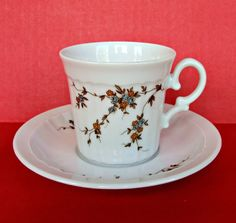 Vintage Eschenbach Cup Saucer Plate Demitasse Set Tiny Flowers Bavaria Germany #EschenbachBavariaGermany