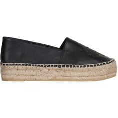 Kenzo Platform leather espadrilles (11,035 THB) ❤ liked on Polyvore featuring shoes, sandals, flats, nero, flat shoes, leather espadrille flats, leather platform sandals, black platform shoes and espadrille flats