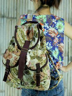 Vintage floral handwoven backpack /Ethnic rucksack /School Bag /holiday bag /Hippie / Boho/ Folk / gypsy / tapestry bag