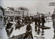 Inondation de 1887 au Square Chaboillez, montréal