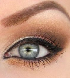 Brown smokey w frost under the brow and on the inner corners. Gorgeous idea and Perfect for green eyes!(: