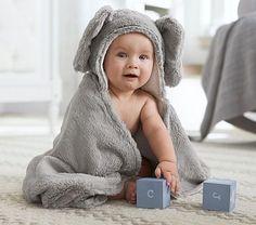 Pottery Barn Kids, Nursery Fur Critter Bath Wrap in Elephant, also available in Bunny Lamb or Bear, $35