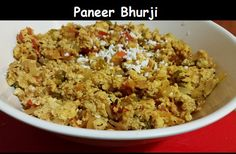 Scrambled paneer / cottage cheese is cooked with onion, tomato and spices to make a dry bhurji.