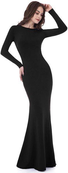 8b8b22f5615dd Amazon.com: Sarahbridal Women's Black Long Sleeve Backless Sheath Prom Gown  CLF015: Clothing