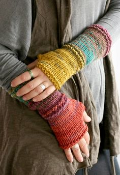 Knit Fingerless gloves in harvest colors Long by MarryGKnitCrochet