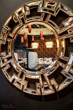 Z Gallerie's Pierre Mirror stylishly filled a blank wall space in @Pulp Home + Pulp Design Studios latest design.