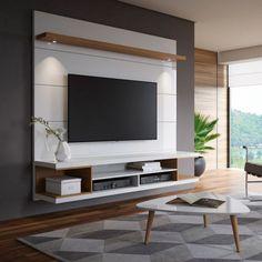 Painel para TV 60 Polegadas Axel Branco Gloss e Natural 181 cm Tv Unit Decor, Tv Wall Decor, Tv Unit Furniture, Furniture Design, Home Room Design, Home Interior Design, Tv Wanddekor, Modern Tv Wall Units, Living Room Tv Unit Designs