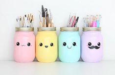 kawaii DIY Stifthalter - New Home Decor Pot Mason Diy, Mason Jar Crafts, Mason Jars, Diy Tumblr, Kawaii Diy, Kawaii Room, Idee Diy, Cute Crafts, Cute Diys