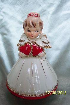 """Vintage Lefton Valentine Heart Angel Figurine 6"""" Tall   eBay"""