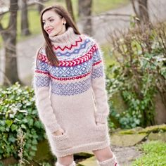 FREE SHIPPING Tiffy Mohair Hand Knitted T- neck Icelandic Sweater Fuzzy Fluffy  M L XL  Made to order T 308 by TiffysMohair on Etsy