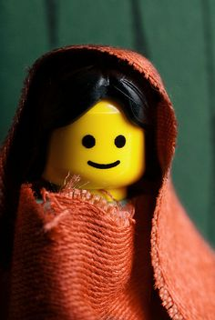 """A Lego recreation of Steve McCurry's 1985 National Geographic cover photograph of Sharbat Gula (previously known simply as """"Afghan Girl"""" before her formal identification in 2002)."""