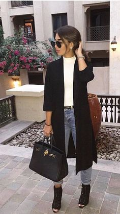 long black jacket with white and denim