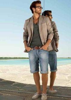 Shop this look on Lookastic: http://lookastic.com/men/looks/blazer-v-neck-t-shirt-belt-shorts-boat-shoes/10464 — Beige Blazer — Charcoal V-neck T-shirt — Brown Leather Belt — Light Blue Denim Shorts — Beige Leather Boat Shoes