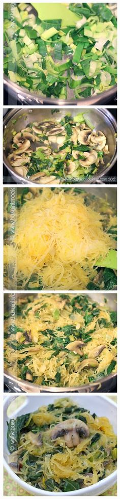 Spaghettti Squash with Sauteed Spinach & Mushrooms - maybe minus the mushrooms. Will have to find a substitute for them!