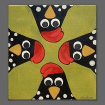 Folk Art Chickens by artist Annie Lane I like the composition- would change expressions for variety.
