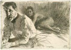 "ANDERS ZORN (Swedish 1860-1920) ""Augustus Saint Gaudens II and his Model,"" 5 1/2"" x 8"", Etching"
