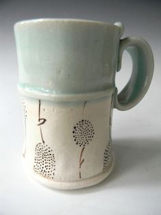 Tall Hand Built Ceramic Mug- Celedon Blue With Dandelion Pattern