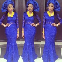 Royal Blue Nigerian Style Evening Dresses African Mermaid Women 2017 Aso Ebi Plus Size Long Sleeves Lace Prom Party Gowns African Lace, African Wear, African Attire, African Women, African Dress, African Fabric, African Style, Nigerian Outfits, Nigerian Dress