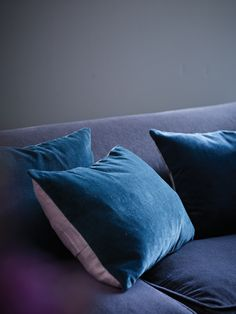 Velvet and Linen Cushion Cover - atlantic deep  £15.50  Fronted in luxuriously soft velvet, with a linen back and 3 mother-of-pearl buttons. Cold hand wash or dry clean.  Length : 30 cm  Width : 40 cm