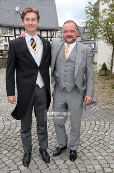Heinrich Donatus Prinz zu Schaumburg-Lippe and his father Alexander Fuerst zu Schaumburg-Lippe during the wedding of Prince Maximilian zu Sayn-Wittgenstein-Berleburg and Franziska Balzer on August 6, 2016 in Bad Laasphe, Germany.