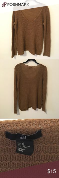 H&M Brown Knit Long Sleeve Cozy Sweater Very cute and soft sweater in a light brown and is a size extra small! Looks great layered and is in good used condition! H&M Sweaters