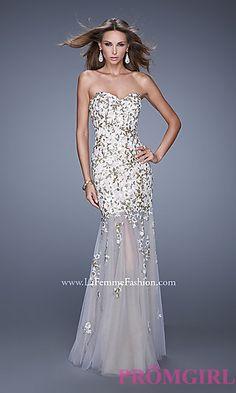 Strapless Sweetheart Tulle La Femme Dress at PromGirl.com