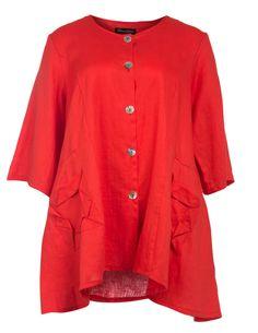 Weit geschnittene Leinenbluse von Donna Sophia in Rot.Mode ab Größe 42 bei navabi kaufen