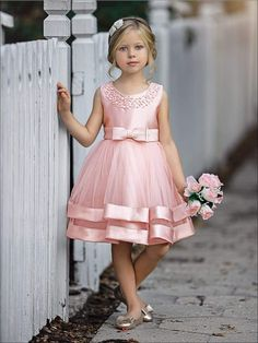 Girls Elegant Pearl Embellished Two Tier Special Occasion Holiday Dress Little Girl Dresses Dress Elegant Embellished Girls Holiday Occasion Pearl special Tier Girls Special Occasion Dresses, Gowns For Girls, Frocks For Girls, Dresses Kids Girl, Kids Outfits, Baby Dresses, Dress Girl, Pageant Dresses, Dresses For Little Kids