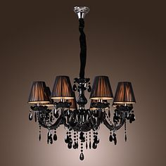 Chandelier Luxury Modern Black Crystal Living 8 Lights – AUD $ 306.94