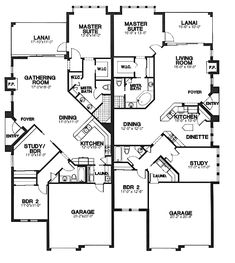 Multi-Family Plan 58965 - One-Story, Tudor Style Multi-Family Plan with 3465 Sq Ft, 2 Bed, 2 Bath, 2 Car Garage Family House Plans, Best House Plans, Country House Plans, Small House Plans, Duplex Floor Plans, House Floor Plans, Duplex Design, House Design, Apartment Plans