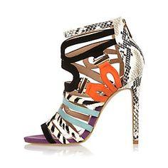 Chaussures noires à brides style colour block à talons aiguille
