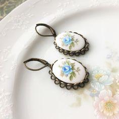 Vintage Blue Rose Cameo Dangle Earrings by VintageDesignsFinds