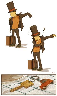 Where are my- by ~wredwrat on deviantART- I love how there's a little Laytonmobile keychain! :D
