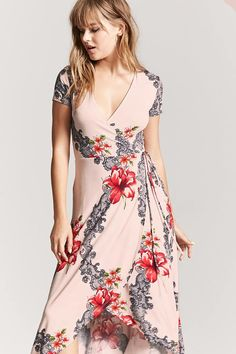 Product Name:Floral Surplice Maxi Dress, Category:dress, Price:19.9