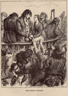 """Original Antique Engraving from 1800's. Dickens story, """"A Tale of Two Cities"""". Illustration by Fred Barnard."""