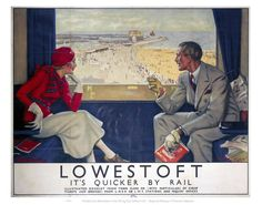 Lowestoft - It's Quicker by Rail by National Railway Museum. Massive range of art prints, posters & canvases. Quality UK framing & Money Back Guarantee! Nostalgia, British Travel, National Railway Museum, Railway Posters, Vintage Travel Posters, Vintage Advertisements, Giclee Print, Art Prints, Framed Prints